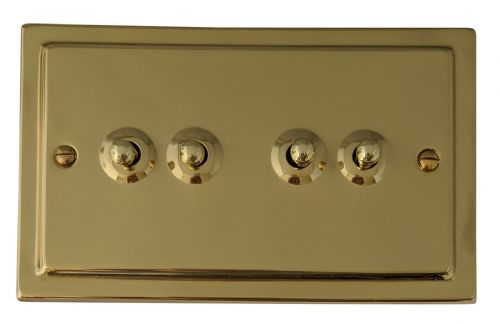 G&H TB284 Trimline Plate Polished Brass 4 Gang 1 or 2 Way Toggle Light Switch